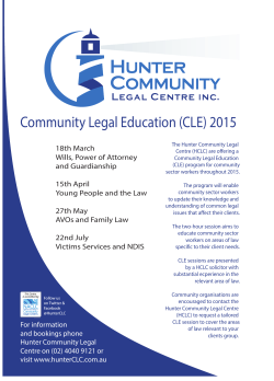 CLE poster 2015 to July - Hunter Community Legal Centre
