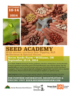 Seed Academy Fall 2015 poster - Oregon State University Extension