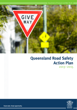 Queensland Road Safety Action Plan 2013–2015