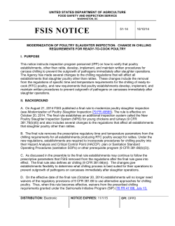 FSIS Notice 51-14 - Modernization of Poultry Slaughter Inspection