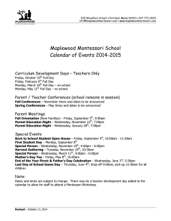 MMS Calendar of Events 2014-15 - Maplewood Montessori School