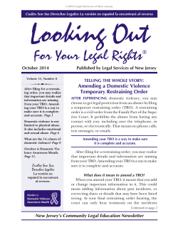 Looking Out For Your Legal Rights - October 2014 - LSNJ