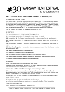 REGULATIONS of the 30th WARSAW FILM FESTIVAL, 10-19