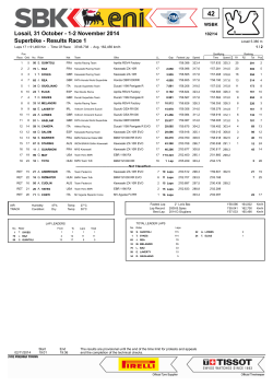 Superbike - Results Race 1 Losail, 31 October - 1-2 - SBK