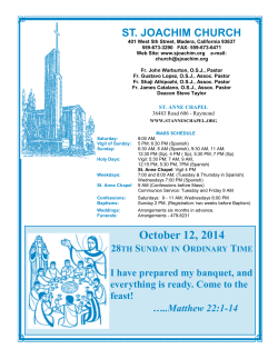 October 12, 2014 - St. Joachim Church