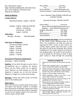 Parish Weekly Bulletin - Our Lady of Fatima