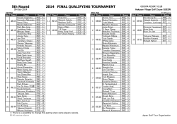 5th Round 2014 FINAL QUALIFYING TOURNAMENT