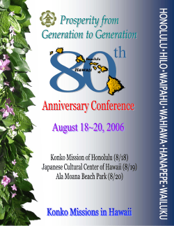 80th Anniversary Conference Booklet - Konko Missions of Hawaii