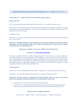boaventura de sousa santos`s program at ucl – april 2015, 20 & 21