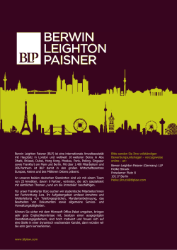 Berwin Leighton Paisner (BLP) ist eine internationale