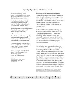 "Hymn Spotlight: ""Savior of the Nations, Come"""