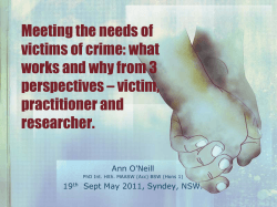 Meeting the needs of victims of crime: what works and why from 3