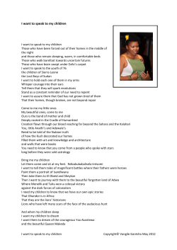Ms Vangi Gantsho - Poem I want to speak to my children
