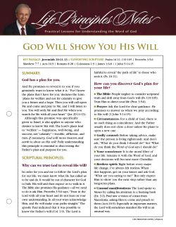 God Will Show You His Will