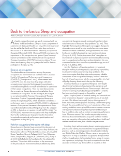 Back to the basics: Sleep and occupation