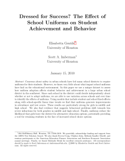Dressed for Success? The Effect of School Uniforms on Student