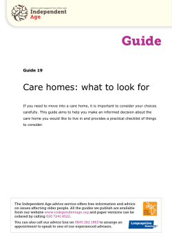 Care Homes: what to look for (Independent Age