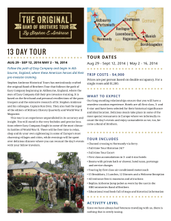 Itinerary - The Original Band of Brothers Tour