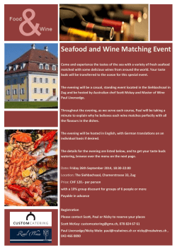 Wine Seafood and Wine Matching Event