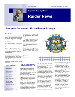 September 18, 2014 Newsletter