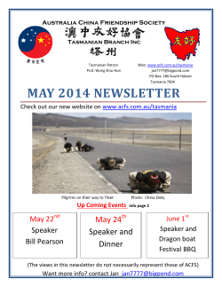 MAY 2014 NEWSLETTER - Australia China Friendship Society