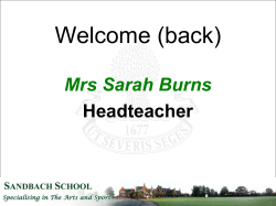 Welcome (back) - Sandbach School