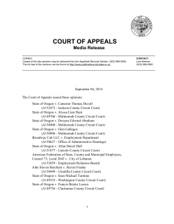 Court of Appeals Media Releases