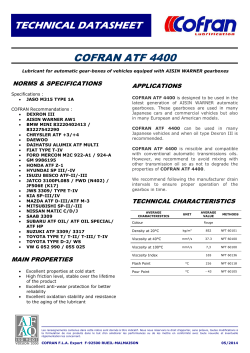 TECHNICAL DATASHEET COFRAN ATF 4400