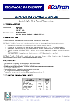 TECHNICAL DATASHEET SINTOLUX FORCE 2 5W-30