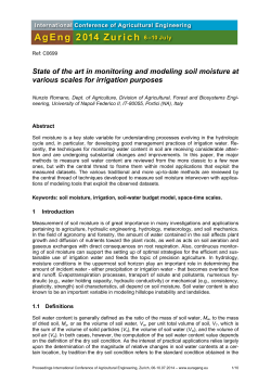 State of the art in monitoring and modeling soil moisture at various
