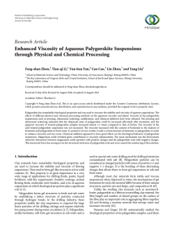 Research Article Enhanced Viscosity of Aqueous Palygorskite