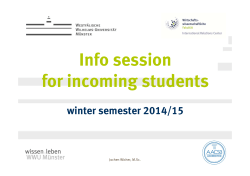 Info session for incoming students