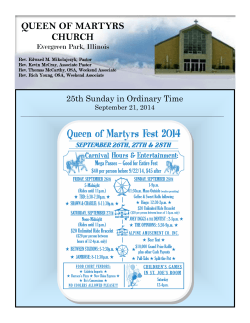 09-21-14 Bulletin - Queen of Martyrs Church – Evergreen Park, IL