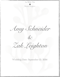 Amy Schneider and Zak Leighton Bridal Registry