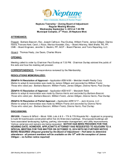 Zoning Board of Adjustment Regular Meeting Minutes Wednesday