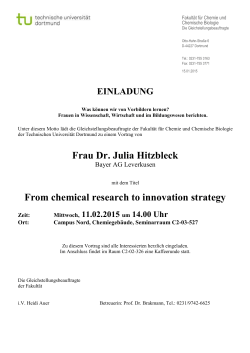 Frau Dr. Julia Hitzbleck From chemical research to innovation strategy