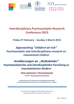 Interdisciplinary Psychoanalytic Research Conference 2015