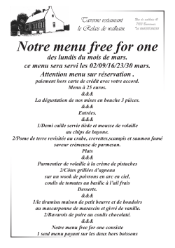 Notre menu free for one