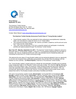 Press Release September 22, 2014 The American Turkish Society