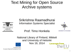 Text Mining for Open Source Archive systems