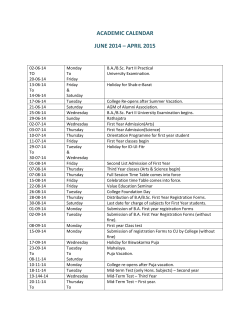 academic calendar june 2014 – april 2015