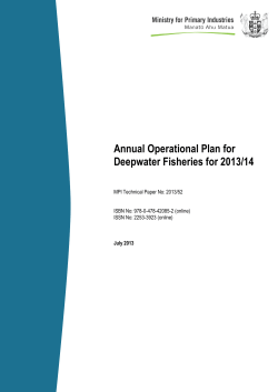 Annual Operational Plan for Deepwater Fisheries for 2013/14
