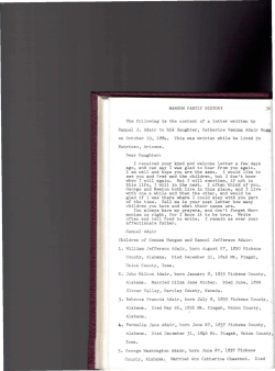 MANGUM FAMILY HISTORY 30 The following is the