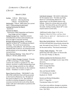 Lemoore Church of Christ Bulletin, March 9, 2014