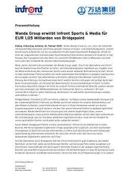 Wanda Group erwirbt Infront Sports & Media für EUR 1,05