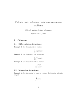 Caltech math refresher: solutions to calculus problems