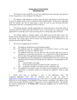 Young Amicus Curiae Scheme Information Note The Supreme Court
