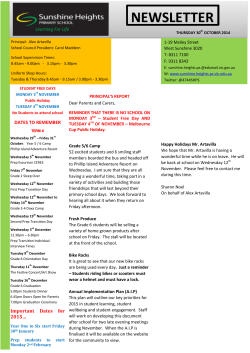 2014 Newsletter 30th October - Sunshine Heights Primary School