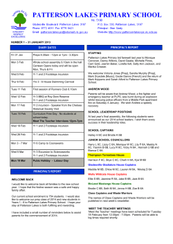 Newsletter #1, 31 January 2014 - Patterson Lakes Primary School