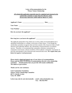 Winsor Tucker Letter of Recommendation Form
